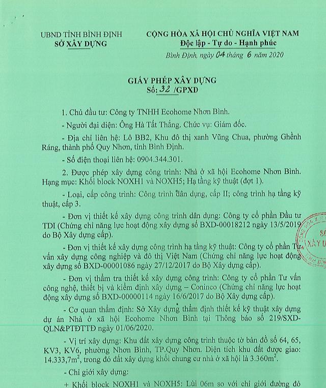 giấy tờ pháp lý dự án Ecohome Nhơn Bình
